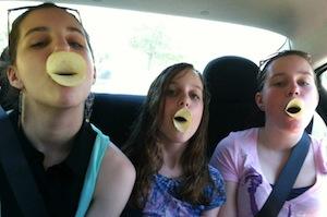Daughters with Pringles beaks